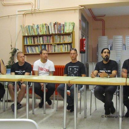 Margaritas Rock: Rueda de prensa. De izquiera a derecha, Symbiosis, Txus Tankian y Andrés